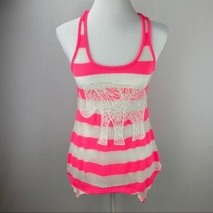 Pink & White Blended Fabric Tank Top